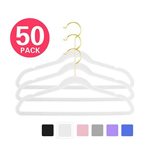 """MIZGI Premium Kids Velvet Hangers (Pack of 50) 14"""" Wide with Gold Hooks,Space Saving Ultrathin,Nonslip Hangers use for Petite Junior Children"""