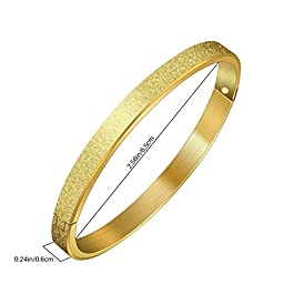 Green Bean Frosted Stainless Steel Bracelet – 304 Polished Plated Sandy Sideways Bangle for Women