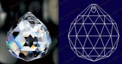 Ball Sphere 30% Lead Crystal Faceted Sphere 50mm - 2