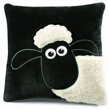 Nici 33110 Shaun - Cojín cuadrado, diseño oveja, 35 x 35 cm, color negro y blanco [importado de Alemania]