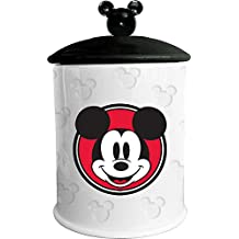 "Vandor 89041 Disney Mickey Mouse Embossed Cookie Jar, 7 x 7 x 11"", White/Black"