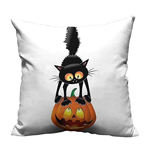 (YouXianHome Pillowcase with Zipper Cat Pumpk Head Spooky Characters Halloween Humor Themed Orange Blac Ultra Soft & Hypoallergenic (Double-Sided Printing) 35x35)