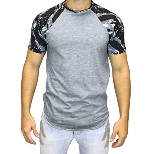 POQOQ T-Shirts Men's Crew Neck T-Shirt Multipack Men's Loose-Fit Short-Sleeve Crewneck T-Shirts Men's Casual Slim Fit Short Sleeve Henley T-Shirts Cotton Shirts S Gray for $<!--$15.12-->