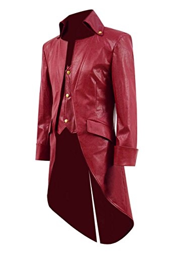 Very Last Shop Mens Gothic Tailcoat Jacket Black Steampunk Victorian Long Coat Halloween Costume (US Men-L, Red B(Faux-Leather))