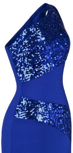 Une Epaule De fashions Femme Pied Sans Angel Cadrage Epissage Paillettes Robe Manches En Bleu Soiree XfZWqU