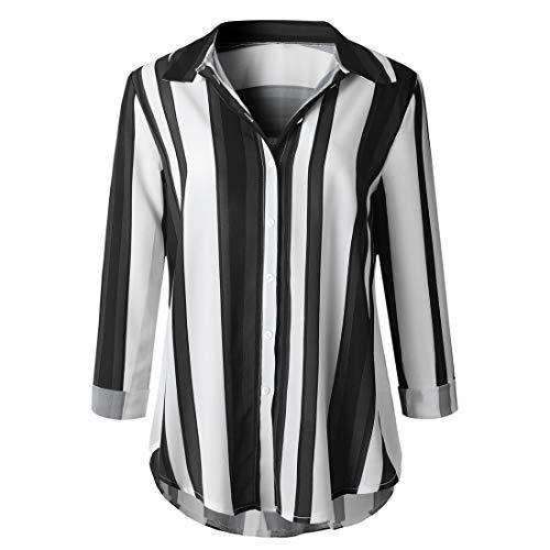 Mode Chemises Automne Longues Tous Smalltile Les Blouses Tops Casual Manches Hauts Patchwork Jours Printemps Noir Raye Revers Chemisiers Shirts et de Femmes qfwHEtXWHx