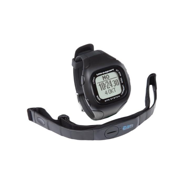 Ultrasport NavRun 500 Reloj con pulsómetro GPS con correa para el pecho, monitor de actividad para correr, 5 perfiles de ejercicio, muchas funciones y software compatible, batería recargable
