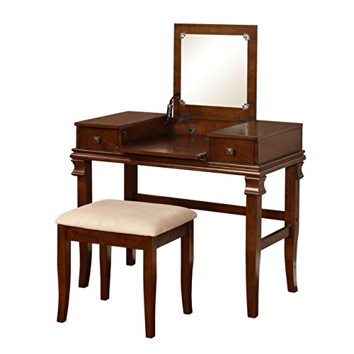 MyEasyShopping Clay Alder Home Riley Brown Vanity Set h Comb Antique Dresser Alder Set Dresser