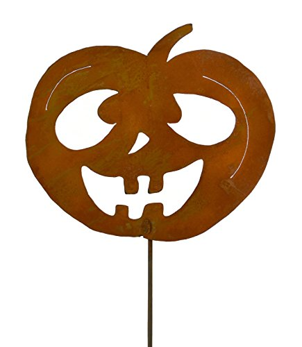 Goofy Jack-o-Lantern Rustic Metal Yard Stake. Whimsical Halloween Decoration Idea. Handcrafted by Oregardenworks in the USA!