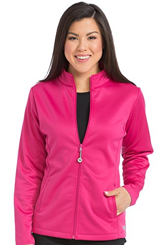 Med Couture Zip Front Performance Fleece Scrub Jacket for Women, Pink Punch, X-Large