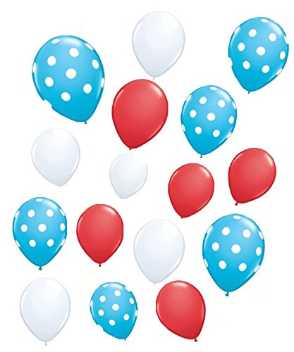 90shine 30 Pack Dr. Suess theme Latex Balloons - Baby Shower/Birthday/Cat Hat Party Supplies Decorations by Yen Jean ()