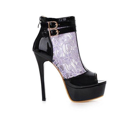 Damem Sexy High Heel Peep Toe Ankle Buckle Plattform Kleid Stiefel Sommer Booties Lila