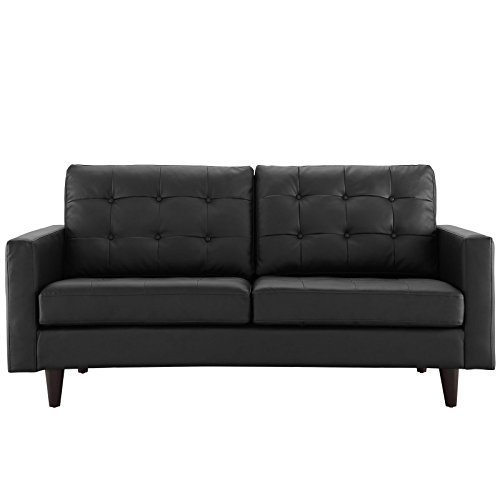 Modway Empress Mid-Century Modern Upholstered Leather Loveseat In Black