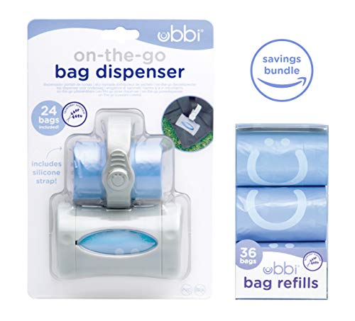 Disposal Bag Holder - Ubbi On The Go Gray Bag Dispenser and Waste Disposal Bags Refill, Lavender Scented, Baby Savings Bundle