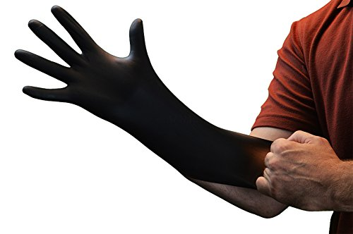AMMEX Professional Series Black Nitrile Disposable Gloves - stretching on hand