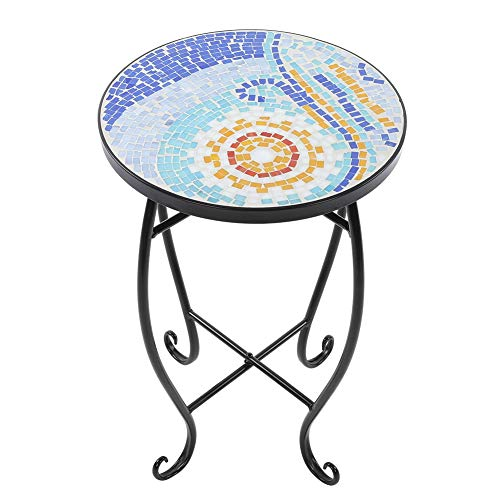 Zoternen Round Patio Bar Table, Mosaic Painted Glass Iron Art Plant Stand Round Side Accent Table Indoor Outdoor Decor Blue Sea