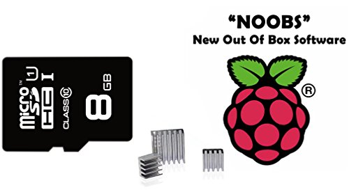 8GB Class 10 Micro SD Card Preloaded with NOOBS and 3 Piece Aluminum Heatsink for Raspberry Pi 2 Model B