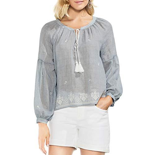 Two by Vince Camuto Women's Long Sleeve Melange Gauze Peasant Blouse Indigo Night Heather Medium