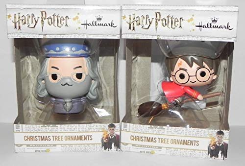 2018 Exclusive Harry Potter Broomstick & Dumbledore Christmas Ornament Set -