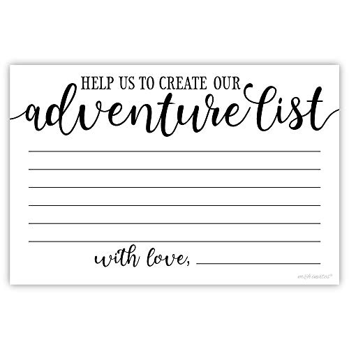 50 Our Adventure List Suggestion Cards for Bride and Groom - Wedding, Engagement Party or Bridal Shower