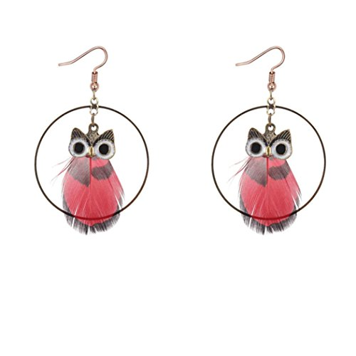 5mm Medium Hoop Earrings (Vintage Earrings for Women, Staron 1 Pair Retro Owl Feather Pendant Circle Earrings Elegant Retro Eardrop Jewelry Gift (Red❤️))
