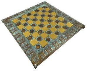 """13"""" Oxidized Byzantine Metal Chess Board w/ 1 1/8"""" Squares"""