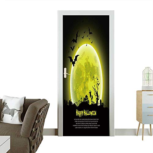 Door Sticker Wall Decals Happy Halloween Message Design Background,Vector Easy to Peel and Stick W36 x H79 INCH]()