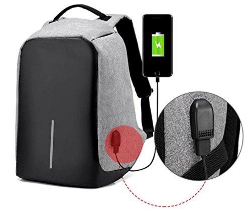 YUEER Señoras Mochila Casual USB Carga Hombres Deportes Seguridad Simplicidad Estudiante Viajes Bolsa De La Cámara,Grey Black