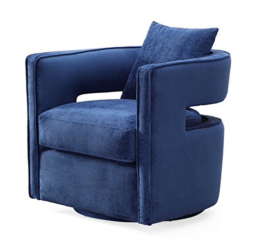 Tov Furniture TOV-L6124 Kennedy Modern Handmade Velvet Swivel Chair, Navy Velvet Fabric Upholstered Swivel Chair