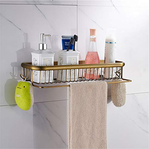 (Bathroom Accessories Towel Bar Paper Holder Robe Hook Antique Brass Wall Mounted Solid Brass Shower Bath Hardware Set 45cm Basket Shelf)