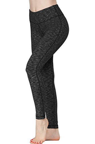 Women Power Flex Yoga Pants Workout Running Leggings - Space Dye Black L