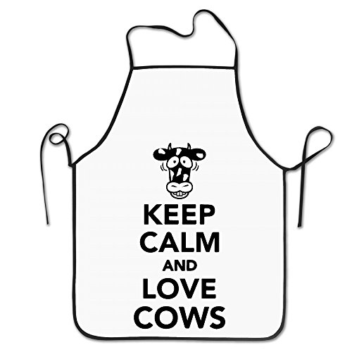 (Kitchen Apron For Women Painting Apron Dress Men Cooking Apron Pinafore Keep Calm And Love Happy Cows Apron)