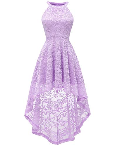 (BeryLove Women's Halter Hi-Lo Floral Lace Cocktail Dress Sleeveless Bridesmaid Formal Swing Dress BLP7028LavenderM)