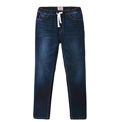 Leo&Lily Boys' Kids' Elastic Waist Regular Fit Stretch Denim Jeans- Blue (Blue, 16)