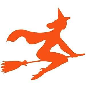 Color naranja diseño de escoba de bruja, de caldero de vinilo adhesivo, vinilo adhesivo, para lunas de coche, habitación, pared (20 cm, altura o 20,32 cm) ThatVinylPlace