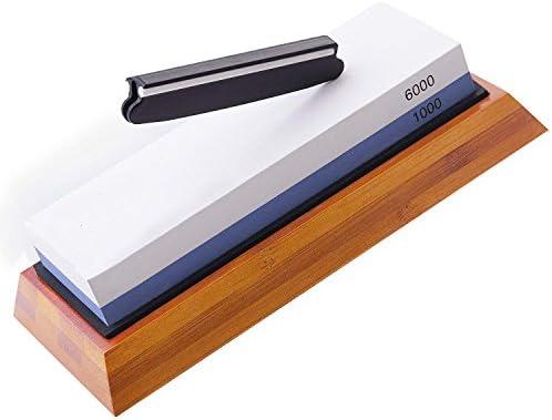 砥石ナイフ鋭利石:両面ナイフシャープナーセット、1000/6000グリット、ノンスリップ竹ベース、ベストキッチンブレードシャーペン