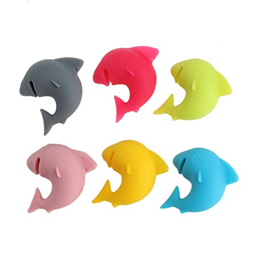 Zczhang fish858 6Pcs Rubber Party Shark Lip Dedicated Smile Tag Silicone Suction Cup Wine Glass (Lip)