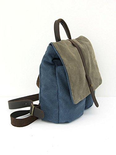Handmade Denim Blue Canvas and Leather Unisex Backpack, High End Rucksack