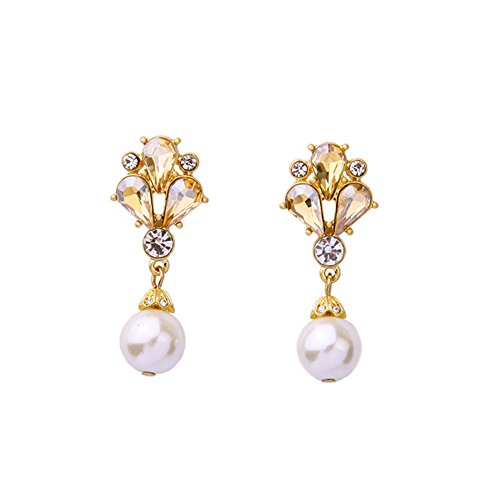 Freshwater Pearl Wedding Earrings (Cubic Zirconia Vintage Dangle Earrings with Freshwater Pearl Drops for Brides or Weddings)