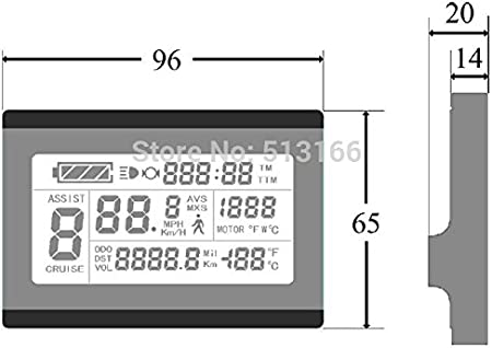 conversion de v/élo KT-LCD3U Horizontal noir et blanc LCD m/ètre connecteur /étanche Affichage LCD 24V-36V-48V E-Bike Digital Meterm