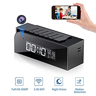 Hidden Camera Wireless, 1080P Full HD Spy Camera Clock WiFi Nanny Cam with 33FT Automatic IR Night Vision and Motion Detection-24/7 Surveillance & Live Streaming