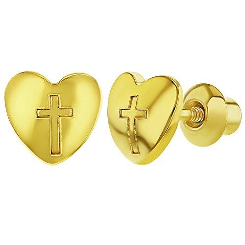 18k Gold Plated Heart Religious Cross Safety Screw Back Earrings for Girls