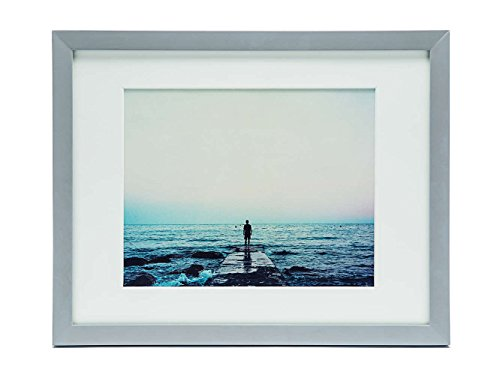 11x14 Light Gray Wood Picture Frame - Two Mats - Elegant Eur