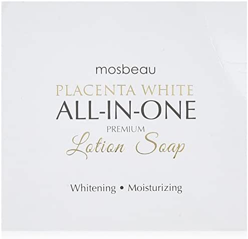 Mosbeau Placenta White Premium Facial Lotion Soap - Placenta Protein and Moisturizing Ingredients have Anti-Aging and Skin Brightening Effects. New 2015 Formula from Japan