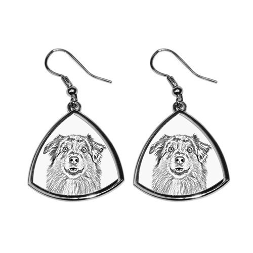 - Australian Shepherd, collection of earrings with images of purebred dogs, unique gift