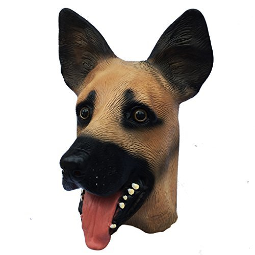 Latex Dog Costume (Demi Sharky Novelty Halloween Costume Party Latex Shepherd Dog Animal Horror Mask for Adult and Children)