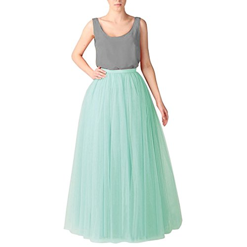 Princesse Tulle CoutureBridal Femme 110cm Tutu 6 Vert Clair Ceinture Longue Couches Jupe Elastic q8ZHqzB