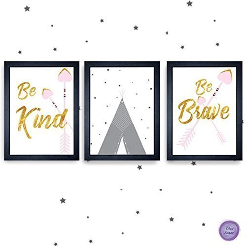 Tip Wall (Boho Baby Girl Wall Décor, Heart Arrows Tipi and Positive Typography in Pink Gold and Gray Nursery & Children Room Art Prints - Set of 3, 12