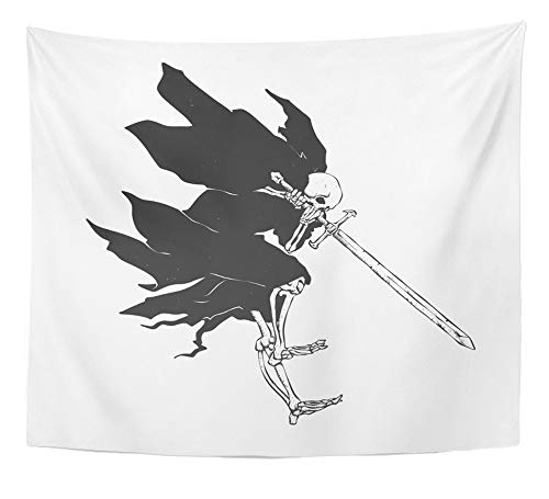 Emvency Tapestry Artwork Wall Hanging Grim Reaper Attack Medieval Ghost Gothic Skull Night Demon Black and White 50x60 Inches Tapestries Mattress Tablecloth Curtain Home Decor -