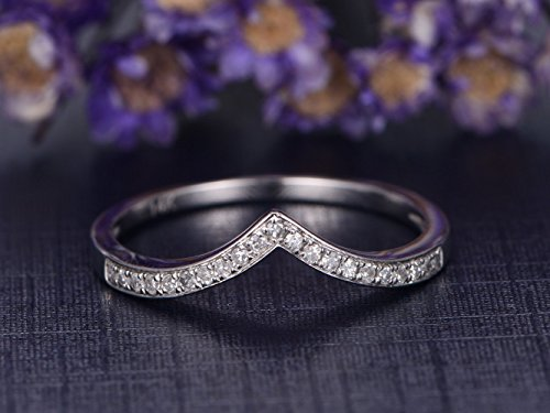 - Solid 14K White Gold Engagement Ring,Half Eternity Curved V Diamond Wedding Band,Reco Antique Wedding Promise Ring,Anniversary Stacking Ring